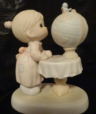 PRECIOUS MOMENTS WHAT THE WORLD NEEDS NOW FIGURINE Map World Globe Girl 1991