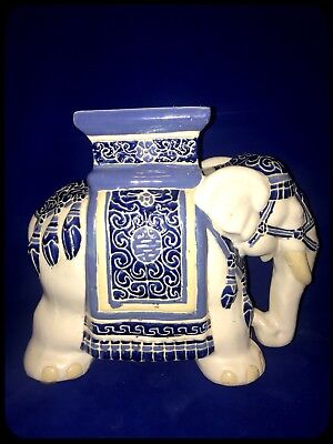 """Ceramic Elephant Porcelain Garden Stool Patio Stand Accent Side Table 20"""""""