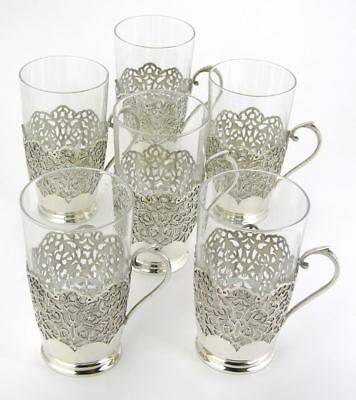 Vintage Set 6 Persian solid silver tea glass holders w. glasses Khosrov Isfahan