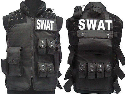 Tactical SWAT Police Combat Vest Molle Magazine Airsoft Paintball Military Black