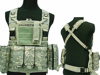 Molle Tactical Airsoft Combat Chest Rig Plate Carrier Assault Vest ACU Color