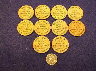 "#4 of 8, LOT OF 10 OLD VTG WOOD NICKELS  ""DRAKE MOTEL"" (INDIANAPOLIS, INDIANA)"