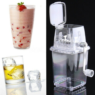 Ice Crusher Shaved Ice Machine Manual Portable ABS Hand Crank Transparent