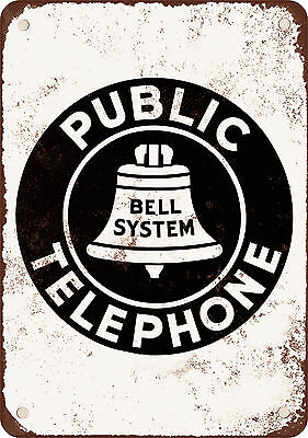 "7"" x 10"" Metal Sign - Bell System Public Telephone - Vintage Look Reproduction"