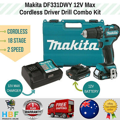 Makita Cordless Drill Driver Combo Kit Power Tool 12V Lithium Battery Charger