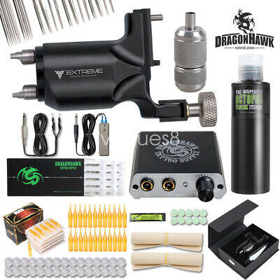 Complete Tattoo Kit Extreme Rotary Machine Power Supply OCTOPUS BLACK Ink Needle