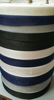 Black polypropylene webbing strapping 25,38,50mm wide-sold by the metre