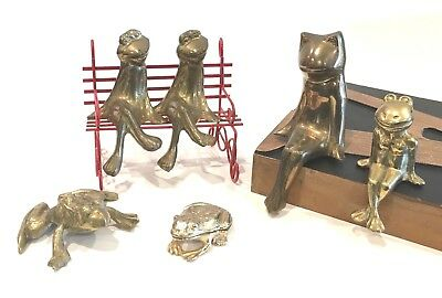 Lot of 6 Brass Frog Figurines Shelf Sitters Trinket Box