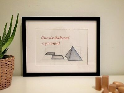 QUADRILATERAL PYRAMID - unique wall drawing art Montessori Waldorf inspired