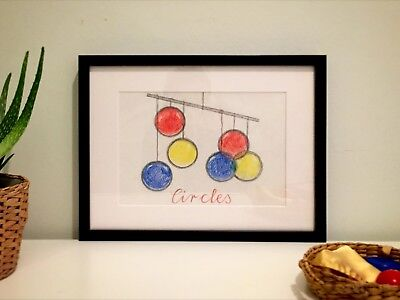 CIRCLES - wall drawing art Montessori Waldorf inspired crayons pencil geometric