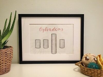 CYLINDERS wall drawing art Montessori Waldorf inspired symbolism perspective
