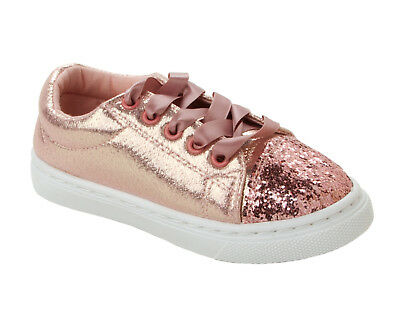 GIRLS ROSE GOLD GLITTER LACE UP WALKING PUMPS TRAINERS INFANTS SHOES SIZE 10-2