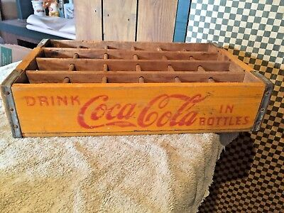 "Vintage ""Drink Coca Cola In Bottles"" Yellow Wooden Crate Westminster, Md"