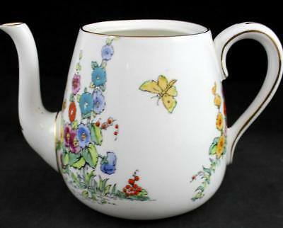 Crown Staffordshire HOLLYHOCK WHITE BACKGROUND Teapot No lid F12925 GREAT COND