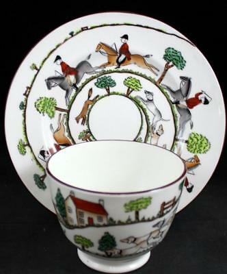 Crown Staffordshire HUNTING SCENES Pie Plate + Open Sugar Bowl 12748 A+ COND