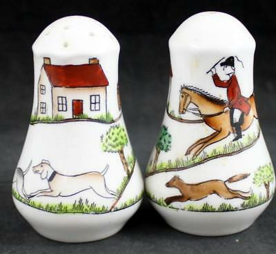 Crown Staffordshire HUNTING SCENES Salt & Pepper Set Bone 12748 VERY GOOD COND
