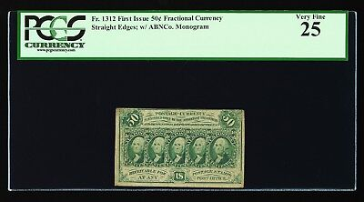 US SCOTT #PC8 Fr 1312 1862 50c FRACTIONAL POSTAGE CURRENCY IMPERF ABC PCGS VF 25