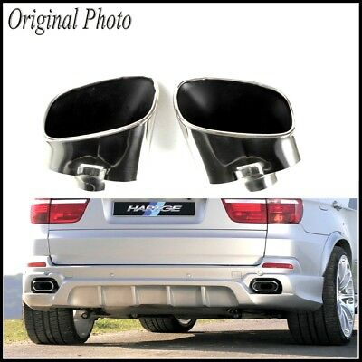 Pair Chrome Exhaust Dual Tail Pipe Muffler Tip Stainless Steel For BMW X5 E70