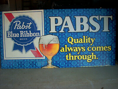 Large Vintage Original 1970's Pabst Blue Ribbon Beer Metal Sign