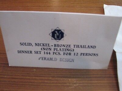 "Solid,Nickel - Bronze Thailand (Non Plating) 144 Pcs Dinner set ""Pyramid Design"""