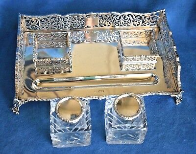Superb Antique Hallmarked Thom Bradbury London Sterling Silver Ink Stand Inkwell