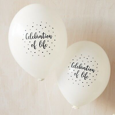 Angel & Dove 10 White 'Celebration of Life' Biodegradable Latex Funeral Balloons