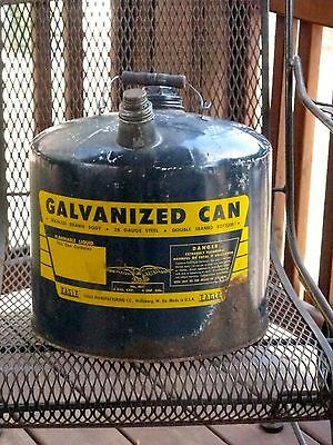 VINTAGE EAGLE No.405 GALVANIZED CAN 5 GALLON 26 GAUGE STEEL DOUBLE SEAMED BOTTOM