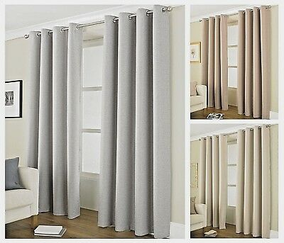 Luxury Thermal Blackout Lined Curtains Pair Eyelet / Ring Top ~ 4 Sizes Free P&P