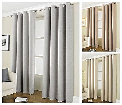 Luxury Designer Thermal Blackout Lined Curtains Pair Eyelet / Ring Top ~ 4 Sizes