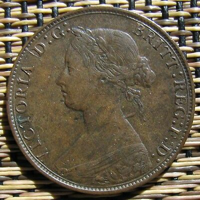 Brown Uncirculated 1861 Victoria Young Head Half Penny