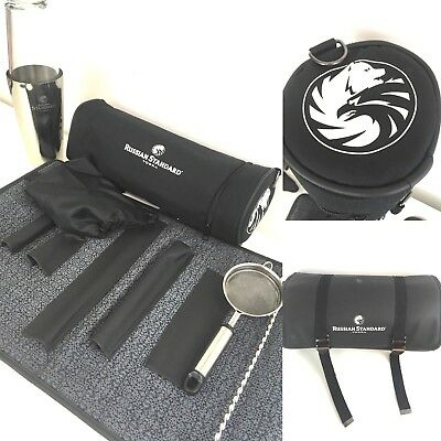RARE Russian Standard Vodka Cocktail Shaker Set Bartender St Steel Kit Tools Bag