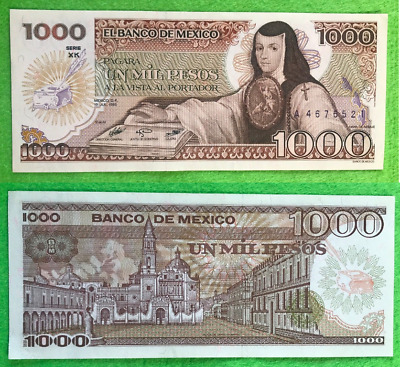 Mexico Banknote 1000 Pesos AU UNC Paper Money - Mexican bills Mil Few Available