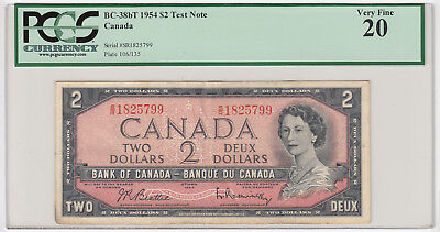 1954 Bank of Canada $2 - S/R Test Note PCGS Very Fine 20