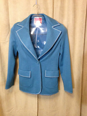 Womens Vintage 70s Ms Pioneer Western Blazer Size 12 Blue 1 Button polyester