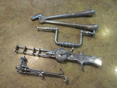 Vintage Stainless US Navy Bone Brain Skull Vaginal Drill Medical Surgical Tools