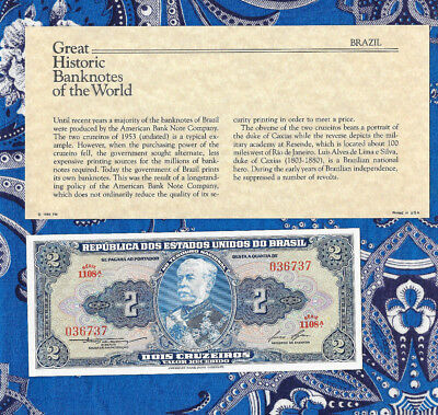 Great Historic Banknotes Brazil 1958 2 Cruzeiros UNC P157Ac serie 1108A