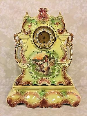 Porcelain China Case & Stand Clock Time Only American Mvmt Runs Dolphin Motif