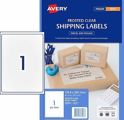 clear matt avery shipping labels inkjet j8551 65 sheet 25 sheets