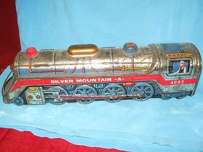 Vintage Old Silver Mountain Battery Operated Train Tin Toy from Japan