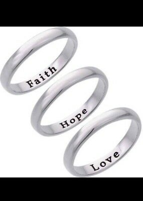 11bd4e5884f03 STERLING SILVER SAYS Hope (heart) Faith + Love 6.5mm wide band Ring ...