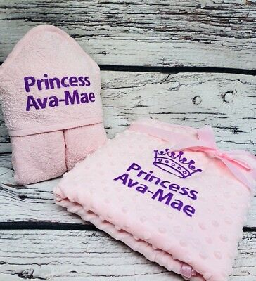 Personalised Baby Blanket Hooded Towel Set Boys Girls Any Name Colour New Gift