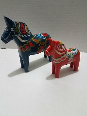 Grannas A. Olsson 5in red Dala Horse & tilly farnas 7in Swedish Wood Carvings