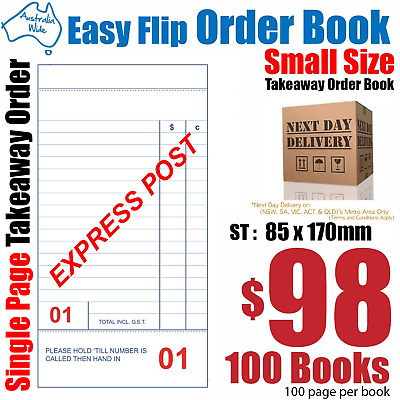 100x Middle Size Takeaway Restaurant Docket Order Book 85x170mm