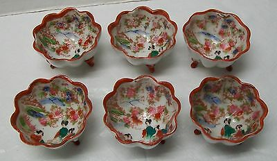 Small Footed Bowls with Scalloped Edges set (6) Women Flowers Vintage Japanese