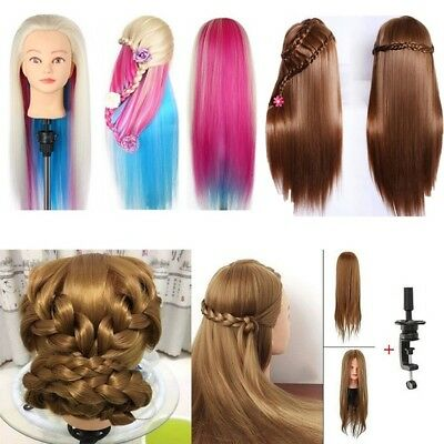 """Hot 22""""-26"""" Training Practice Head Colorful Hair Hairdressing Mannequin / Clamp"""