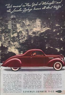 Vintage Magazine Ad - 1937 - Lincoln Zephyr V-12 - red coupe