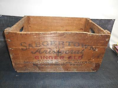 Antique SAEGERTOWN Penn. WOOD SHIPPING CRATE BOX Advertising Ginger Ale Water