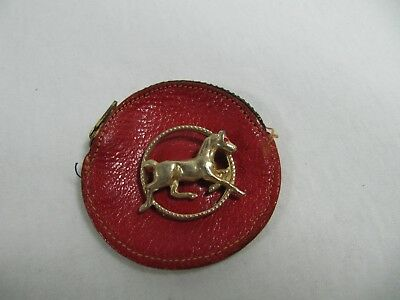 Vintage Small Round Leather Coin Wallet with Horse Pin Brooch - Beautiful