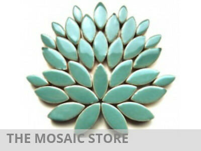 Teal Green Ceramic Petals - Mosaic Tiles Supplies Art Craft