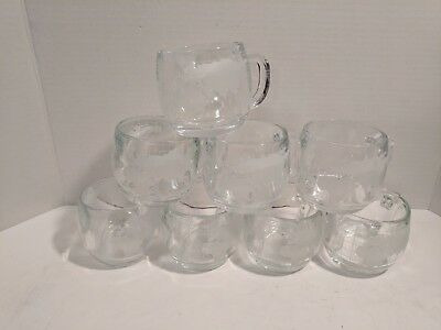 Vintage Nestle World Globe Etched Glass Mugs Cups Set of 8